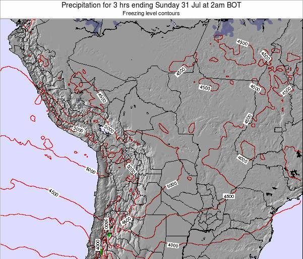 Bolivia Precipitation for 3 hrs ending Friday 24 May at 2pm BOT map