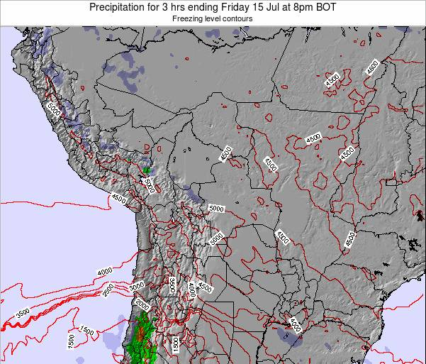 Bolivia Precipitation for 3 hrs ending Saturday 19 Apr at 8am BOT map