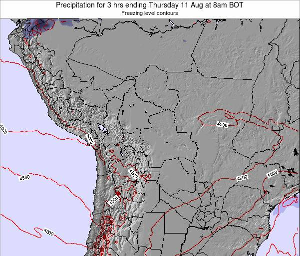 Bolivia Precipitation for 3 hrs ending Monday 24 Jun at 2am BOT map