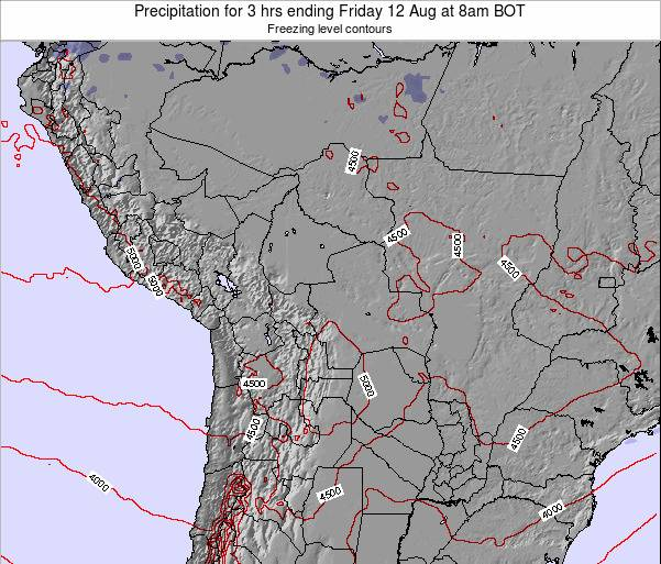 Bolivia Precipitation for 3 hrs ending Sunday 16 Mar at 2pm BOT map