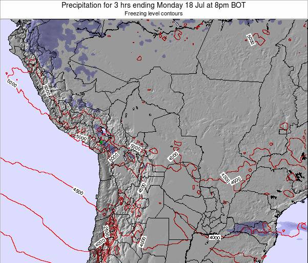 Bolivia Precipitation for 3 hrs ending Wednesday 06 Aug at 2am BOT map