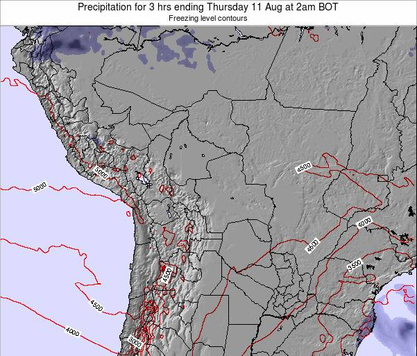 Bolivia Precipitation for 3 hrs ending Wednesday 23 Apr at 2pm BOT map