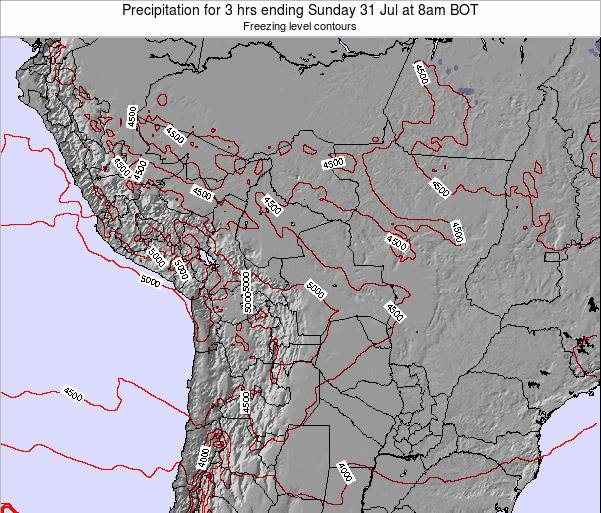 Bolivia Precipitation for 3 hrs ending Friday 21 Jun at 8am BOT map