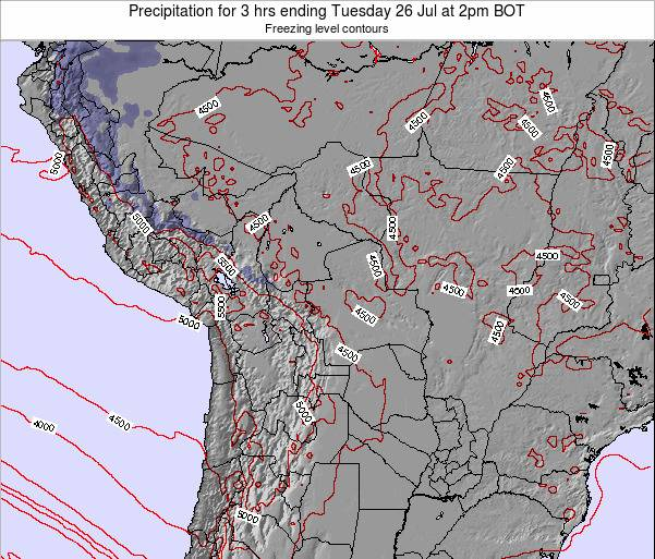 Bolivia Precipitation for 3 hrs ending Tuesday 11 Mar at 8am BOT map