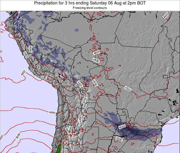 Bolivia Precipitation for 3 hrs ending Wednesday 11 Dec at 8am BOT map