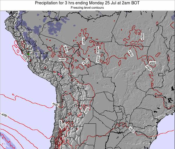 Bolivia Precipitation for 3 hrs ending Tuesday 22 Apr at 2am BOT map