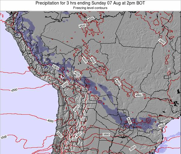 Bolivia Precipitation for 3 hrs ending Thursday 24 Apr at 2pm BOT map