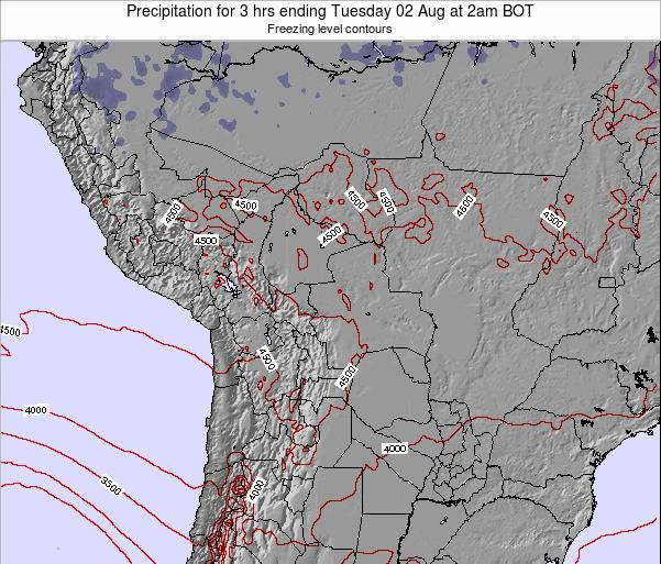 Bolivia Precipitation for 3 hrs ending Friday 14 Mar at 2am BOT map