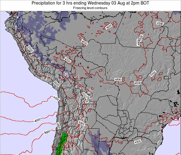 Bolivia Precipitation for 3 hrs ending Wednesday 30 Jul at 8pm BOT map