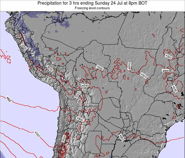 Bolivia Precipitation for 3 hrs ending Friday 25 Jul at 8pm BOT map