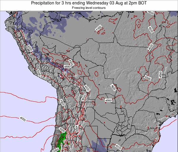 Bolivia Precipitation for 3 hrs ending Saturday 26 Jul at 2am BOT map