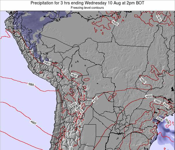 Bolivia Precipitation for 3 hrs ending Wednesday 12 Mar at 2am BOT map