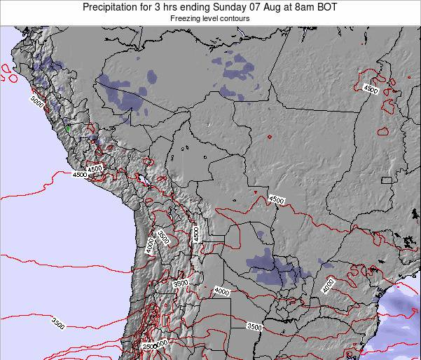Bolivia Precipitation for 3 hrs ending Saturday 26 Apr at 8am BOT map