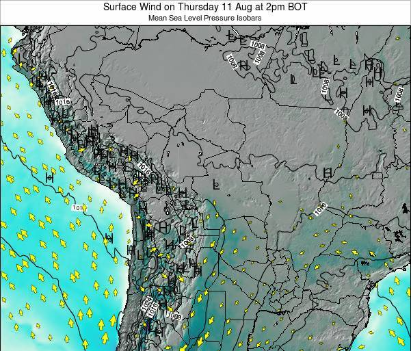 Paraguay Surface Wind on Friday 24 May at 8am BOT map