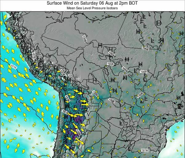 Paraguay Surface Wind on Saturday 25 May at 2pm BOT map