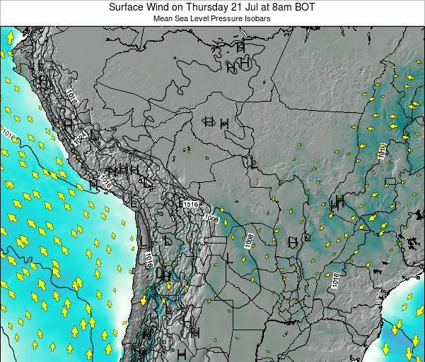 Paraguay Surface Wind on Wednesday 29 May at 2am BOT map