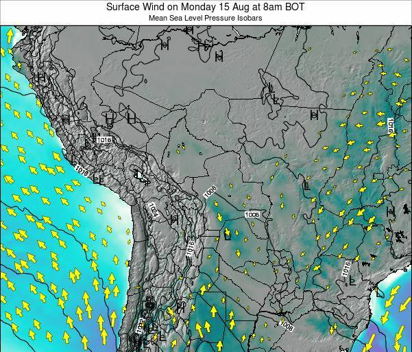 Paraguay Surface Wind on Sunday 16 Mar at 2pm BOT map
