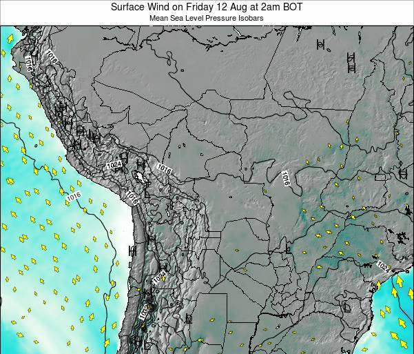 Paraguay Surface Wind on Wednesday 30 Apr at 8am BOT map