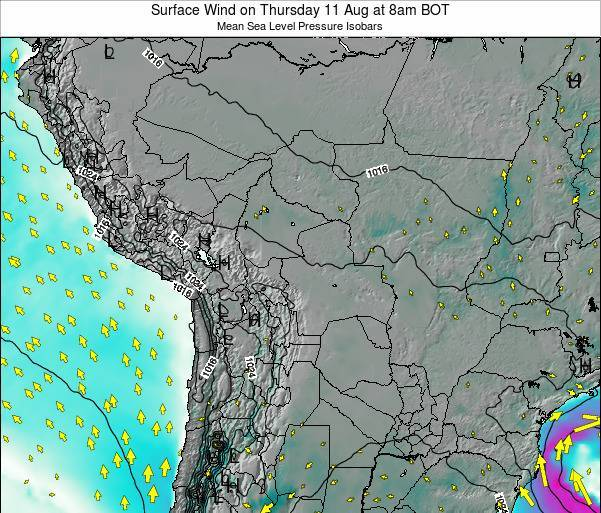 Paraguay Surface Wind on Thursday 30 May at 2am BOT map