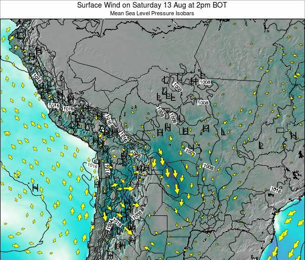 Paraguay Surface Wind on Thursday 31 Jul at 2pm BOT map