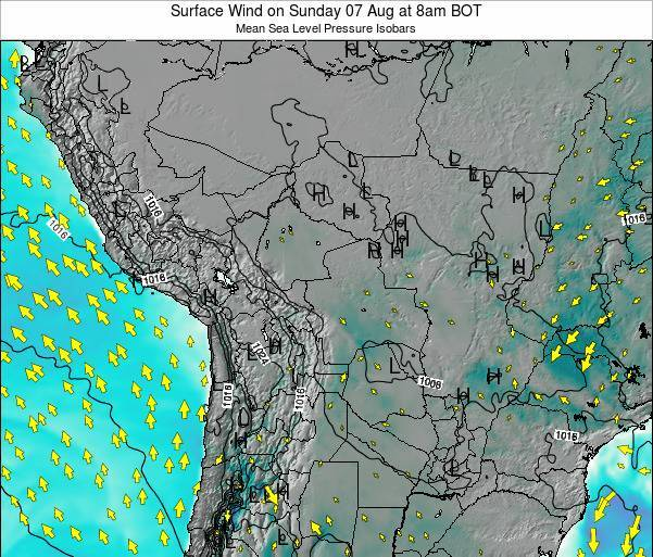 Paraguay Surface Wind on Monday 04 Aug at 8am BOT map