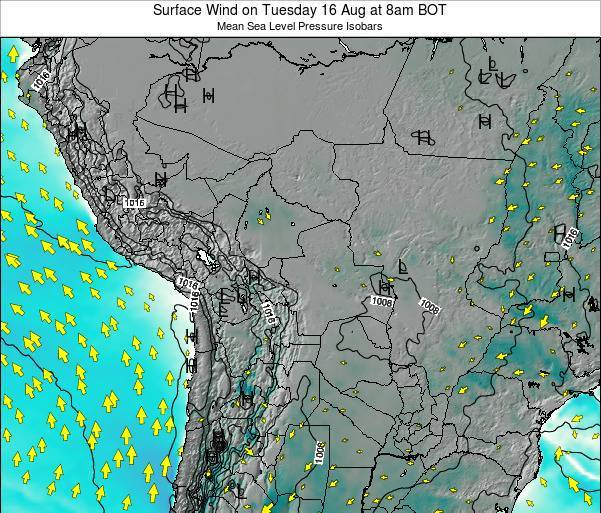 Paraguay Surface Wind on Thursday 30 May at 2pm BOT map