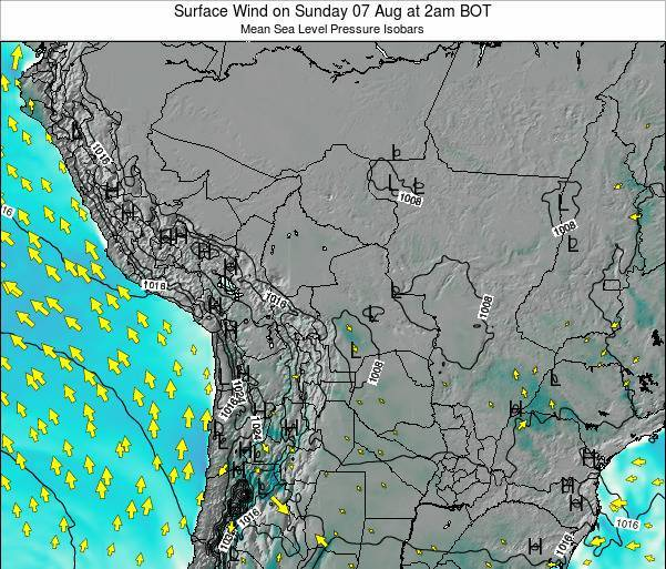 Paraguay Surface Wind on Sunday 26 May at 8pm BOT map