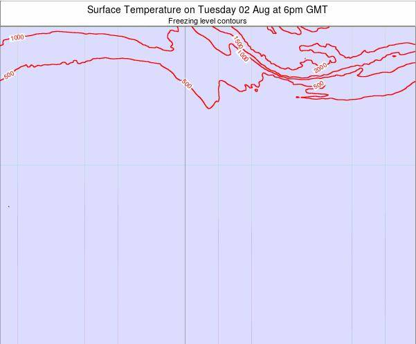 Bouvet Island Surface Temperature on Thursday 20 Jun at 12pm GMT map