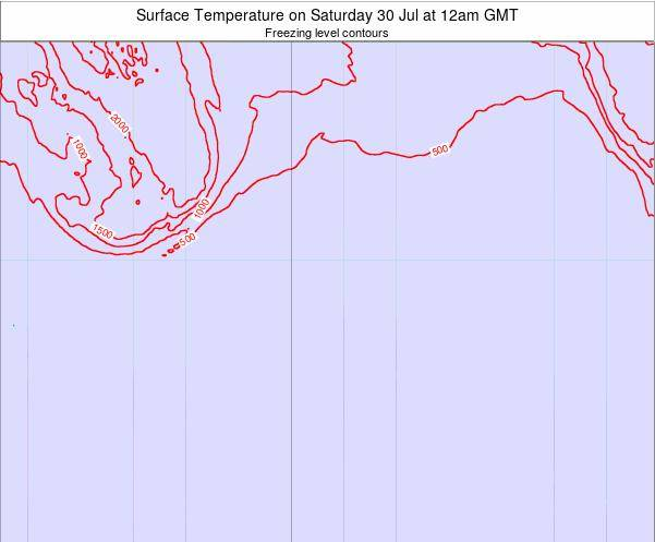 Bouvet Island Surface Temperature on Saturday 25 May at 6pm GMT map