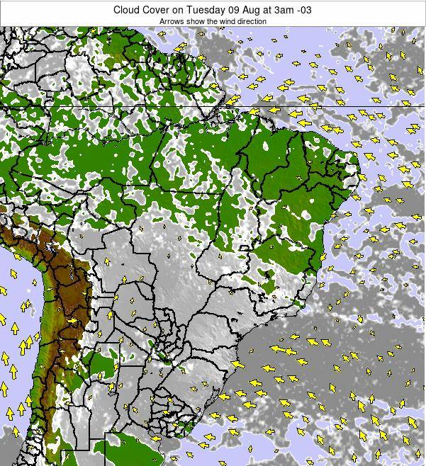 Brazil Cloud Cover on Sunday 27 Jul at 3am BRT