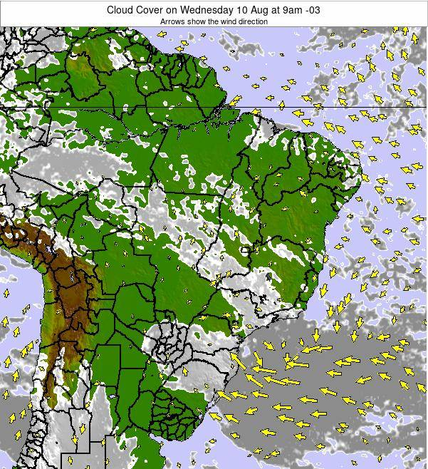 Brazil Cloud Cover on Sunday 03 Aug at 9pm BRT
