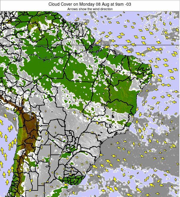 Brazil Cloud Cover on Saturday 15 Mar at 9pm BRT