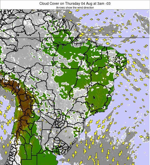 Brazil Cloud Cover on Monday 16 Dec at 10am BRST
