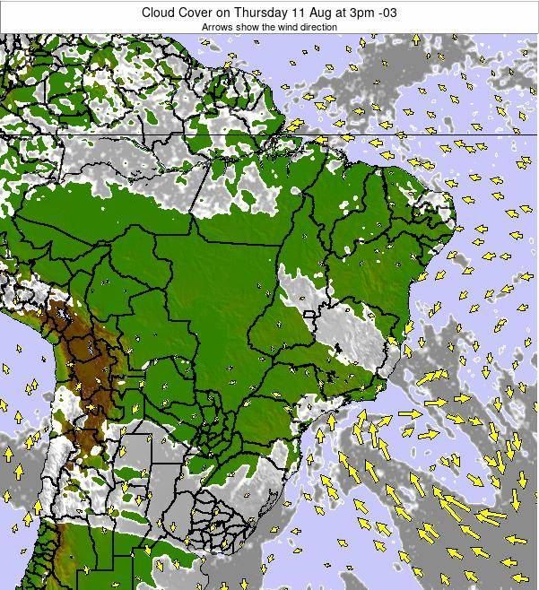 Brazil Cloud Cover on Sunday 16 Mar at 3am BRT