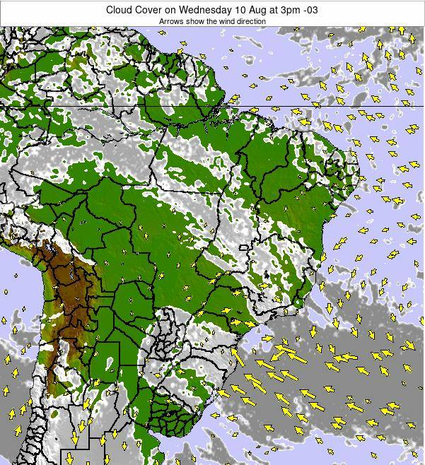 Brazil Cloud Cover on Saturday 02 Aug at 3am BRT