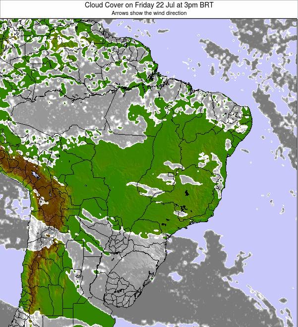 Brazil Cloud Cover on Monday 21 Apr at 9pm BRT