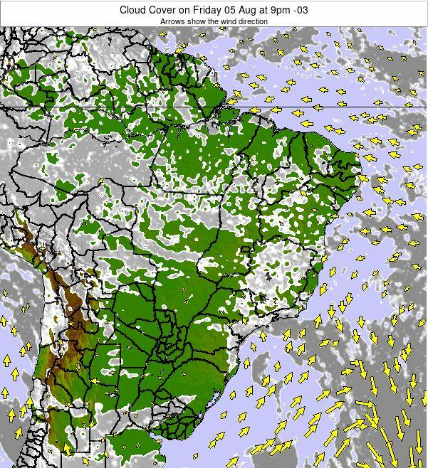 Brazil Cloud Cover on Wednesday 18 Dec at 10am BRST
