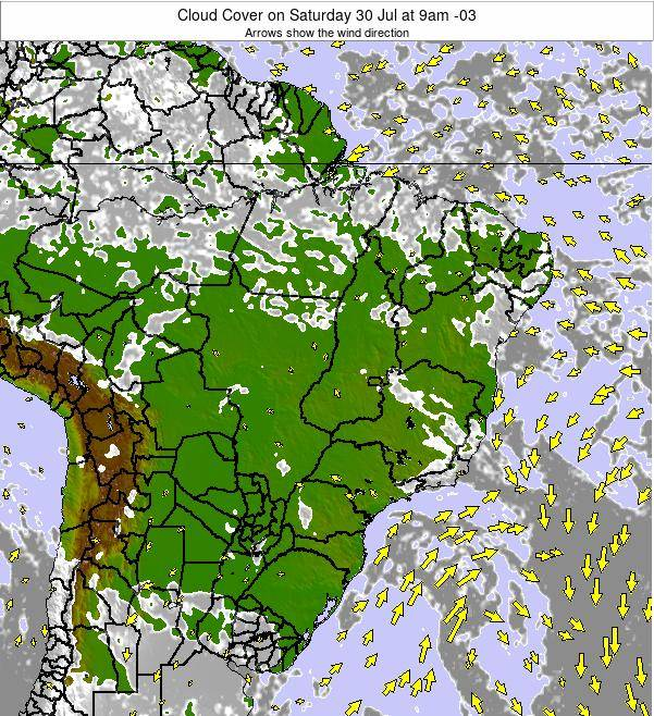 Brazil Cloud Cover on Wednesday 24 Sep at 9am BRT