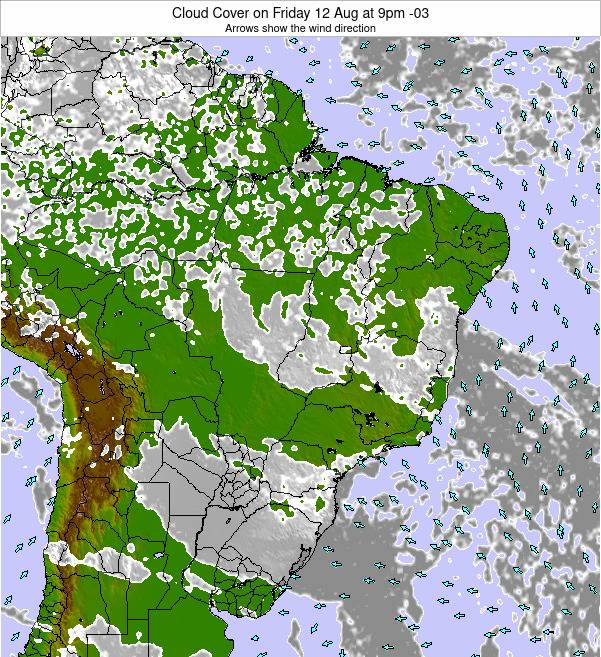 Brazil Cloud Cover on Tuesday 13 Dec at 10am BRST