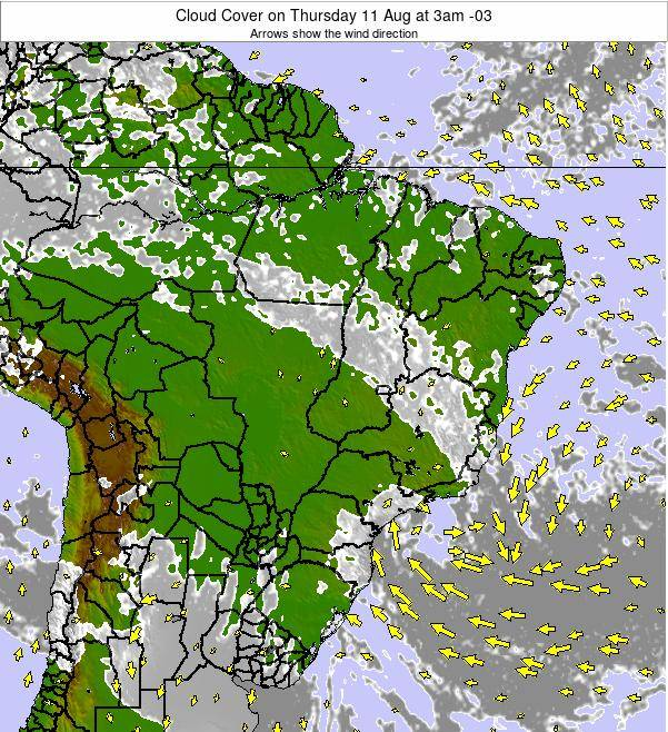 Brazil Cloud Cover on Wednesday 06 Aug at 3am BRT