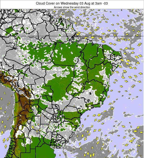 Brazil Cloud Cover on Thursday 30 Oct at 10pm BRST