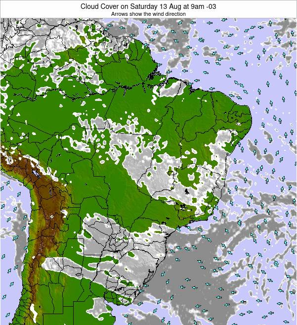 Brazil Cloud Cover on Tuesday 28 May at 9am BRT
