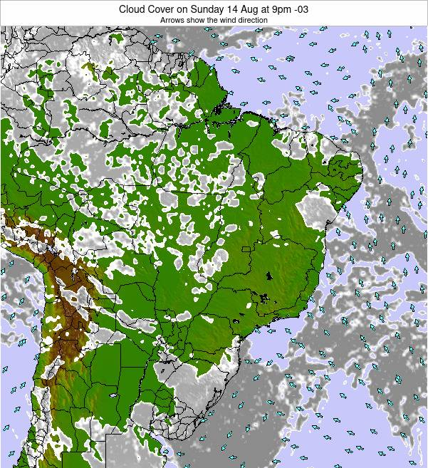 Brazil Cloud Cover on Sunday 31 Jul at 3pm BRT