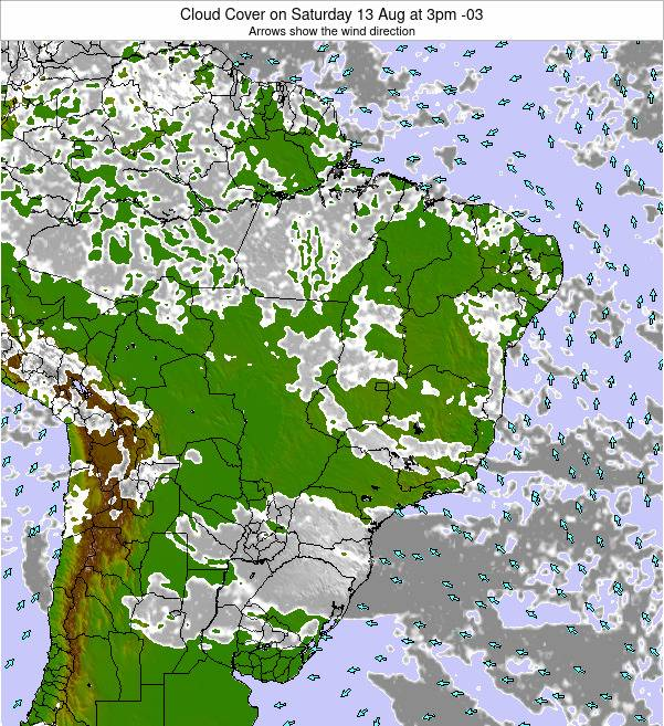 Brazil Cloud Cover on Wednesday 23 Apr at 9am BRT