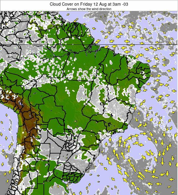 Brazil Cloud Cover on Sunday 27 Jul at 3pm BRT