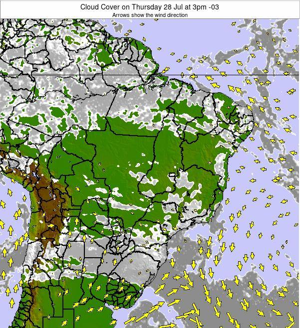 Brazil Cloud Cover on Monday 03 Oct at 9pm BRT