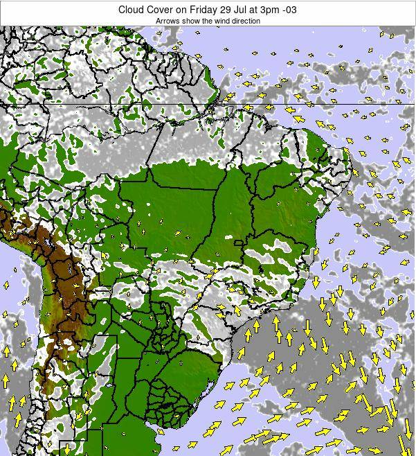Brazil Cloud Cover on Sunday 03 Aug at 3pm BRT