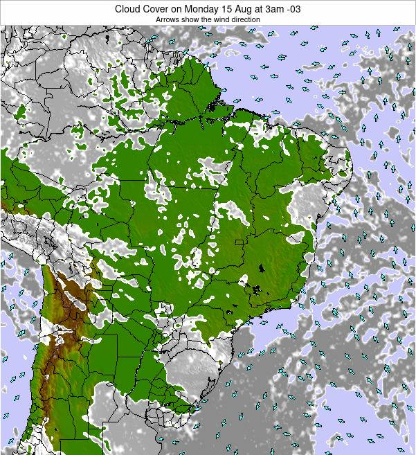 Brazil Cloud Cover on Friday 24 May at 9pm BRT