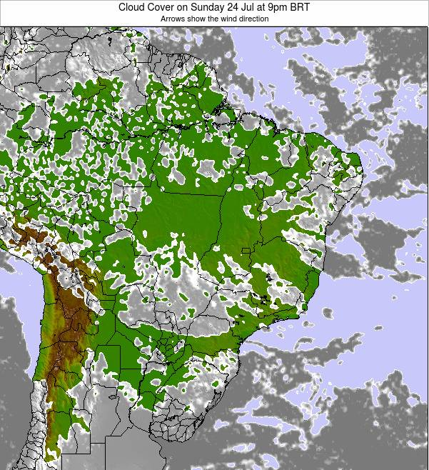 Brazil Cloud Cover on Tuesday 25 Jun at 3am BRT