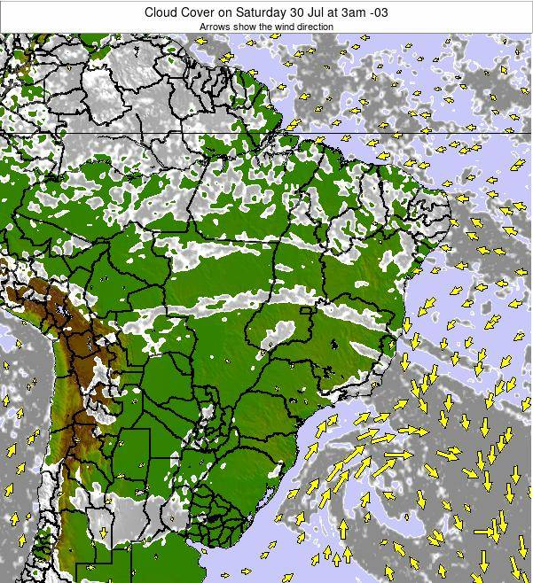 Brazil Cloud Cover on Tuesday 11 Mar at 3pm BRT